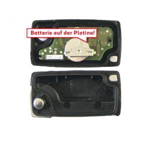 Gehäuse o. Logo leer 2 Knopf, Batterie auf Platine, 207, 3008, 307 / 307 Restyl, C6, Expert, Jumpy,